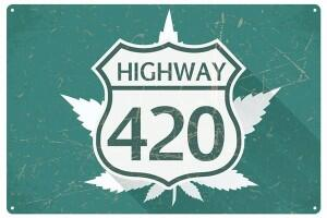 Blechschild Highway 420 Hanf Cannabis
