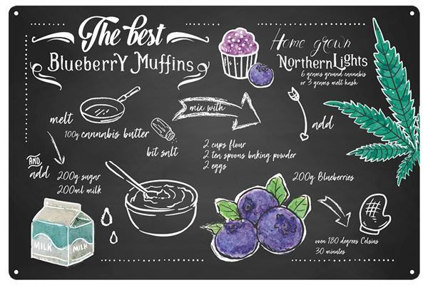 Blechschild Blueberry Muffins
