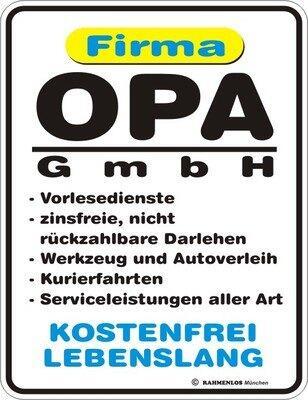 Moderne Blechschilder (ab 1960) Sammler-Werbeschilder Opa´s Service 24 Std geöffnet Reparaturen ruf einfach Opa Blechschild Schild
